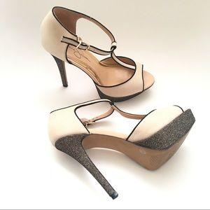 Jessica Simpson T-Strap Sparkle High Heels. Sz 8